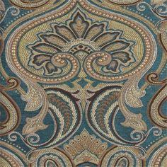 Turquoise Paisley Floral Upholsery Fabric