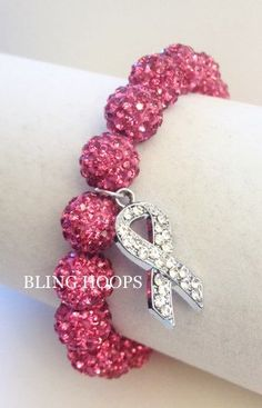 NEW Bling Hoops Bling  Breast Cancer Awareness