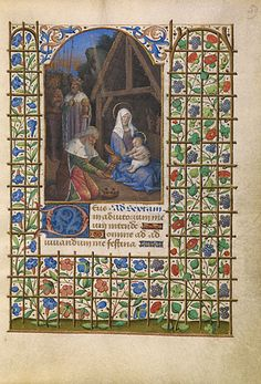 The Adoration of the Magi  	      Jean Bourdichon  French/Tours/about 1480 - 1485  Tempera colors and gold on parchment  6 7/16 x 4 9/16 in.  MS. 6, FOL. 59