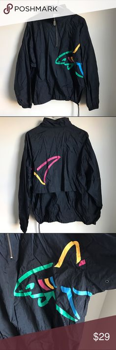 Vintage Reebok Windbreaker Pullover Thin and lightweight pull over. Has a front half zip & drawstring bottom. Two front pockets. Lightweight, made of nylon. Very Cool. Possibly a men's Large. Size Large. Reebok Jackets & Coats