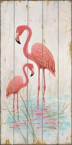Arnie-Fisk-Flamingo-Duo-Keilrahmen-Bild-Leinwand-Voegel-Holzbrett-rosa