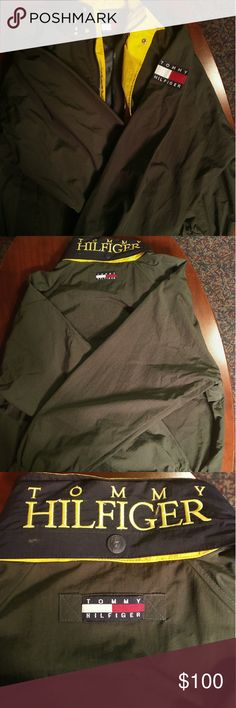 NEW Tommy Hilfiger Mens Jacket Green Vintage Coat Tommy Hilfiger Mens Jacket - Green Yellow Parka  - Size XL  Vintage Tommy Hilfiger Jacket New Without Tags! No flaws! Great Quality! No holes, stains, or rips.  Tommy Hilfiger Patch on Sleeve.  Forest Green and Yellow Accent color. Some blue too.   Fits True to Size.   Very comfortable and lightweight!  Feel free to ask questions! Or make an offer! PRICE IS NEGOTIABLE!!! Tommy Hilfiger Jackets & Coats Raincoats