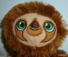 "Dreamworks The Croods Sloth Toy 9"" Plush Stuffed Animal Green eyes embroidered #Dreamworks"