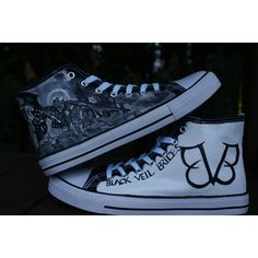 black veil brides inspired hand painted canvas high tops, made to... (€61) ❤ liked on Polyvore featuring shoes, sneakers, high top canvas shoes, waterproof sneakers, black high-top sneakers, canvas shoes and black shoes