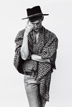Mathias Lauridsen shot by Billy Kidd and styled by Alex Badia with a selection of denim pieces, for Men's Week.