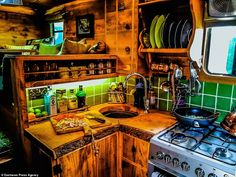 Former surveyor Guy Williams spends converting a wrecked horse box into a plush 'log cabin van' Horse Box Conversion, Motorhome Conversions, Truck Camping, Camping Trailers, Travel Camper, Cook Up A Storm, Travel Around Europe, Horse Trailers, Tiny House Design