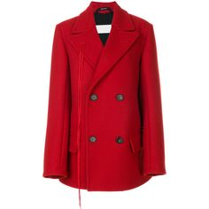 Maison Margiela double breasted short coat (89.425 RUB) ❤ liked on Polyvore featuring outerwear, coats, red, maison margiela, short double breasted coat, red coat, red double breasted coat and short coat