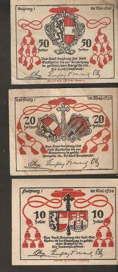 Austria Land SALZBURG 10 20 50 heller 1920 Austrian Notgeld 3psc. lot