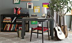 Office Arrangements | west elm...gray desk. fun chair. gray walls and rug. dark, short bookcase...i would so need a larger bookcase...and a tree, growing out of a basket.