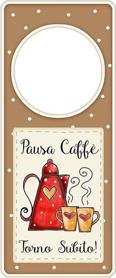 """appendi porta in legno """"Pausa caffè, torno subito"""" idea regalo, artigianato italiano, made in Italy, con frase scritta, spiritosa, fuori stanza, appendi porta, fuori porta, tavola country: Amazon.it: Casa e cucina"""