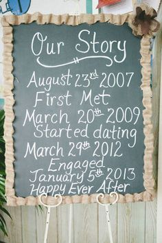 DIY story board or program board for the ceremony. Poster board, chalk board paint, burlap...genius!