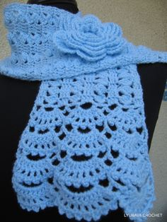 CROCHET NECKWARMER, New Hand Crocheted Lace Scarf, Blue Pastel Romantic Crochet Lacy Scarf with Crochet Flower, Cyprus Crochet Lyubava. $43.90, via Etsy.