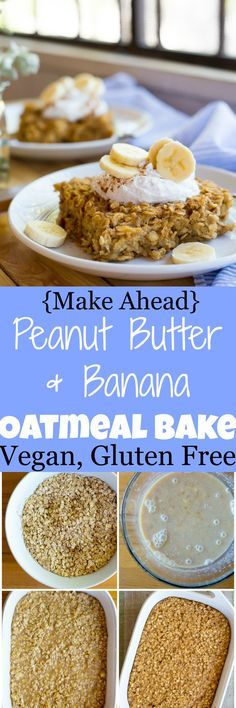 This Peanut Butter & Banana Oatmeal Bake is so healthy and easy to make! It's perfect for a make ahead breakfast that is packed with protein! Gluten free and vegan!