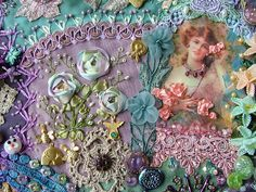 I ❤ crazy quilting,beading & ribbon embroidery . Crazy Quilt Stitches, Crazy Quilt Blocks, Crazy Quilting, Silk Ribbon Embroidery, Embroidery Stitches, Hand Embroidery, Embroidery Designs, Colchas Quilt, Patch Quilt