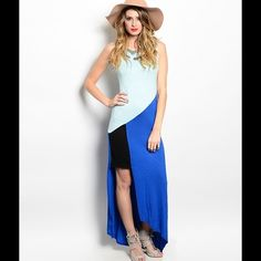 Color Block Maxi Juniors color block hi long maxi dress material rayon and spandex Dresses Maxi