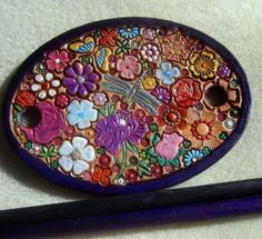 Leather Hair Barrette with Colorful Flowers and Butterfly and Dragonfly and Two Sticks