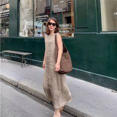 US$ 45.95 - Casual V Neck Pure Colour Linen Cotton Sleeveless Jumpsuits - www.ebuytide.com Jumpsuit Outfit, Gingham Dress, Jumpsuits For Women, What To Wear, Bodycon Dress, Pure Products, Casual, Neutral, Color