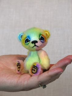 Cheer the Rainbow Baby Mini Bear is now available for adoption on our website: http://www.whiteforestbears.com/available_critters.html - SO adorable!!!!