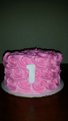 Smash cake pink rosettes
