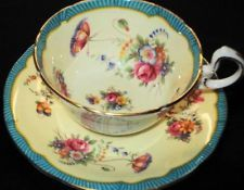 AYNSLEY ROYAL CREAM BLUE PINK ROSES TEA CUP AND SAUCER =