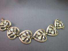 "VTG Coro Rhinestone Link Bracelet Gold Plated Wide 7"" Designer Tear Drop Stones #Coro #Statement SOLD!"