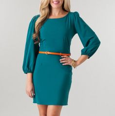 Deep V-Back Belted Dress, cute itch a different belt