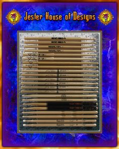 Holds 22 individual drumsticks with  Diamond Plate background