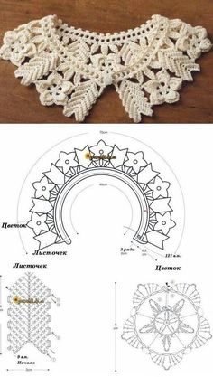 Collection of crochet collars with graph patterns. Crochet Collar Pattern, Col Crochet, Crochet Lace Collar, Crochet Chart, Crochet Motif, Crochet Flowers, Crochet Stitches, Crochet Patterns, Easy Crochet