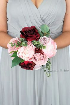 Beautiful Cascading Brides bouquet with mauve, blush pink, rose gold, burgundy and wine roses, peonies and cherry blossoms accented with seeded eucalyptus Prom Bouquet, Red Bouquet Wedding, Summer Wedding Bouquets, Red Wedding Flowers, Wedding Flower Arrangements, Bride Bouquets, Pink Carnations, Pink Peonies, Cranberry Wedding