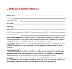 Restaurant Catering Contract Word Template Free Download