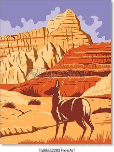 Badlands National Park in South Dakota WPA Poster Art - Artwork - Art Print from FreeArt.com