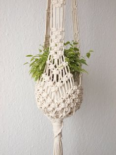 Good Pic Macrame Plant hanger-indoor Hanging Planter made from natural white cotton or black polypropilene rope- cm) / cm) long Ideas When there is small place for the keeping flowerpots, hanging flowerpots really are a good Alternati Macrame Hanging Planter, Macrame Plant Holder, Hanging Planters, Macrame Plant Hanger Patterns, Macrame Patterns, Macrame Art, Macrame Projects, Macrame Knots, Micro Macrame