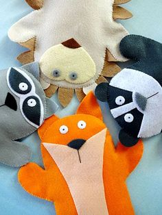 "These adorable felt hand puppets are simple to make! They are stitched entirely by hand using the whip stitch around the felt edges, French knots for the eyes and straight stitches for the muzzle lines on the faces. Instructions are included to make a fox, raccoon, badger and hedgehog. The only materials you will need are felt and sewing thread/embroidery floss. Size: Approximately 8"" x 9"" each. Skill Level: Beginner"