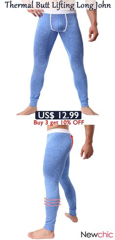 Men Thick Thermal High Elasticity U Convex Pouch Sleepwear Butt Lifting  Fitness Slim Fit Long John. NEO NATURA · men fashion 56074fb19b40
