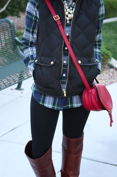 Plaid Shirt, Quilted Vest, Black Leggings, Brown Over the Knee Boots, Red Crossbody, J.Crew Factory, Frye, Chloe 14