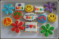 A new set for a 9 year old's birthday Disco Birthday Party, Sleepover Birthday Parties, 16th Birthday, Birthday Ideas, Biscuit Decoration, Dessert Decoration, 70s Party Decorations, Hippie Birthday, Iced Sugar Cookies