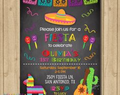 Fiesta Invitation Fiesta Birthday by TigerLilyInvitations on Etsy