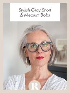 Swept Back Bob - Stylish Gray Long Bobs To Inspire Your Next Hair Appointment - Photos Long Gray Hair, Short Thin Hair, Short Hair Cuts, Grey Hair Lob, Grey Hair Fringe, Blue Grey Hair, Black Hair, Hair Styles 2016, Curly Hair Styles