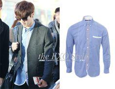 SID_TOP_JunyaWatanabe_LuHan2Check Placket Shirt in Pale Blue | Shop: N/A | Image Source: miya