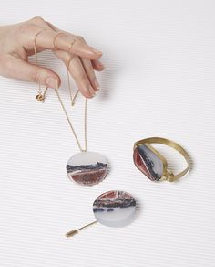 Ejing Zhang and Xuzhi's collaborative collection of exclusive 'Wool Marble' jewellery are unique and one off pieces. The colours and tones of yarns in the jewel