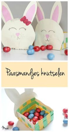 Paasmandje knutselen - paasknutsel - pasen Paper Crafts For Kids, Easter Crafts, Paper Crafting, Holiday Crafts, Arts And Crafts, Diy Crafts, Easter Ideas, Easter Baskets For Toddlers, Construction Paper Crafts