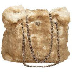 b9aa982944 Prada Beige Faux Fur Chain Tote Bag Vintage Bags