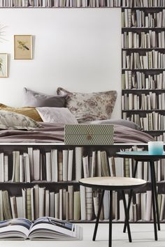 Vintage bookshelves wallpaper by KOZIEL