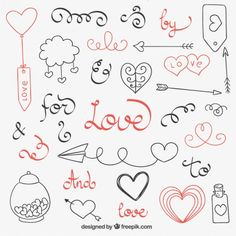 Discover thousands of copyright-free vectors. Graphic resources for personal and commercial use. Thousands of new files uploaded daily. Mini Drawings, Doodle Drawings, Easy Drawings, Doodle Art, Calligraphy Doodles, Doodle Lettering, Love Doodles, Simple Doodles, Valentine Doodle