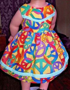 """Doll Clothes-Handmade-American Girl Dolls-Fits 18""""- Signs of Peace Dress."""