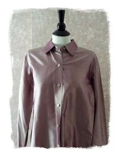 Ellen Tracy 14 #silk shirt career top french cuff long sleeve blouse #plum large #fashion