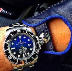 Rolex Sea-Dweller D-Blue - Chubster's choice Men's Watches - Watches for Men ! Elegant Watches, Stylish Watches, Luxury Watches For Men, Beautiful Watches, Cool Watches, Rolex Watches, Black Watches, Seiko, Mens Toys
