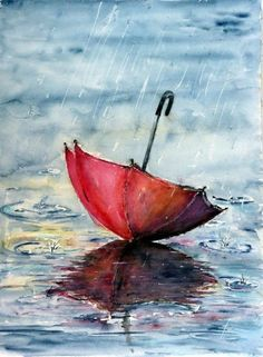This is a painting of a couple in the rain under a red umbrella. This is done in acrylic paints Art Amour, Umbrella Art, Umbrella Painting, Ouvrages D'art, Art And Illustration, Illustrations, Love Art, Painting Inspiration, Painting & Drawing