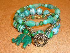 Green Elephant Stretch Bracelet Set in by MountainMagicJewelry