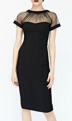 Illusion yoke crepe sheath dress